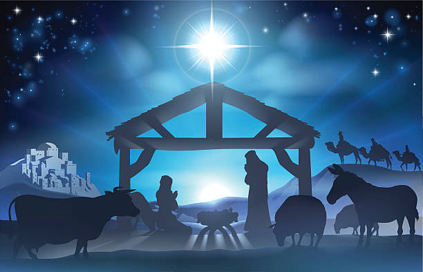 Christmas Nativity Scene Traditional Christian Christmas Nativity Scene of baby Jesus in the manger with Mary and Joseph in silhouette surrounded by the animals and wise men in the distance with the city of Bethlehem nativity silhouette stock illustrations