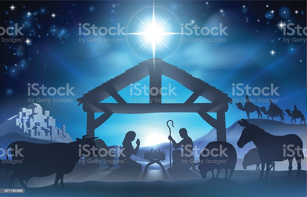 Traditional Christian Christmas Nativity Scene of baby Jesus in the...