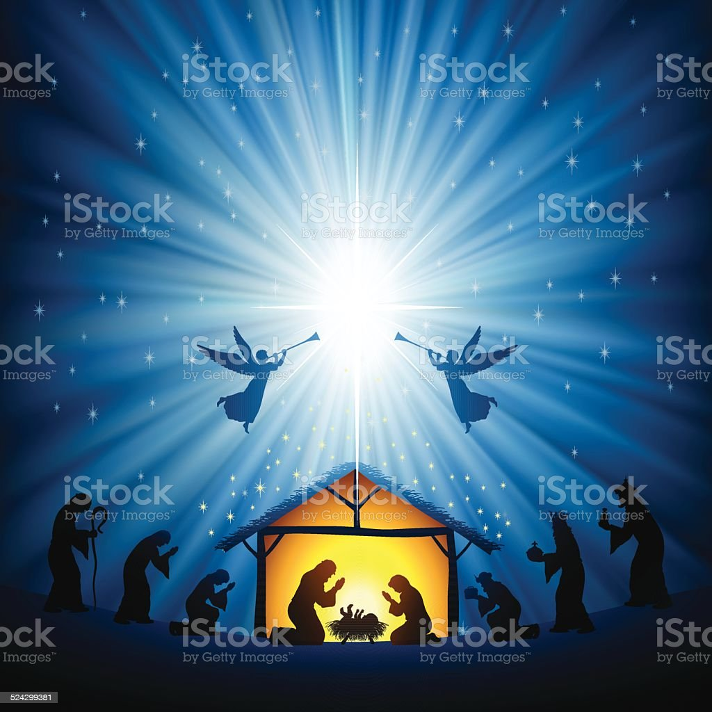 Christmas Nativity Scene vector art illustration