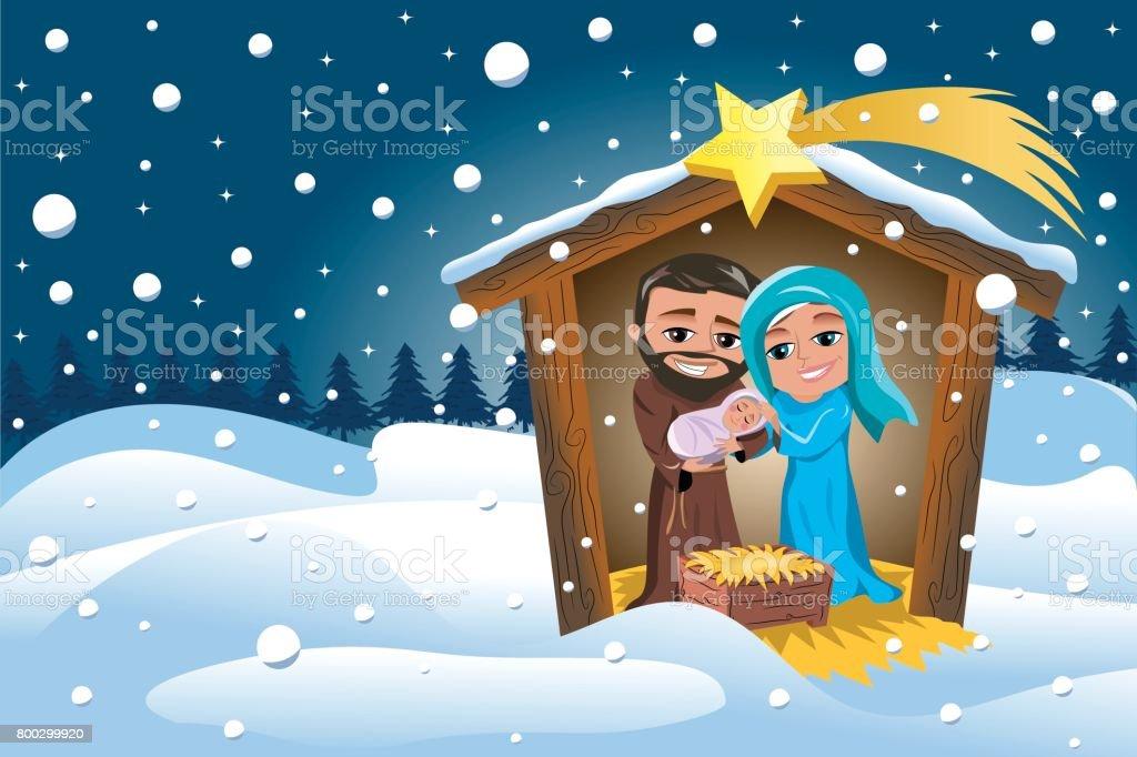 Bilder Weihnachten Krippe.Weihnachten Krippe Szene Winter Schnee Stock Vektor Art Und Mehr