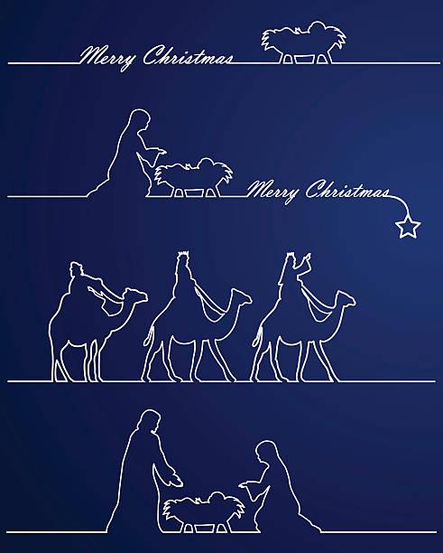 Christmas Nativity Blue Nativity. EPS 8.  nativity silhouette stock illustrations