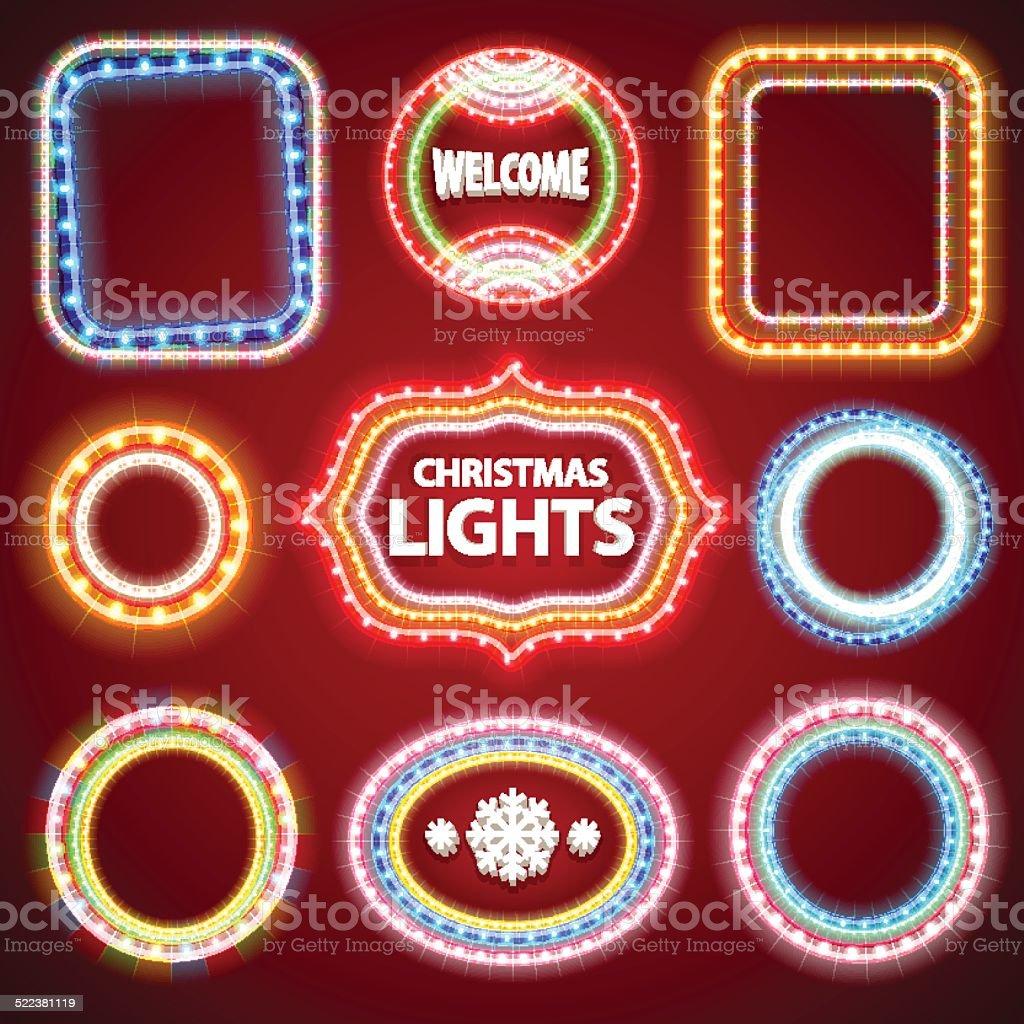 Weihnachten Neon Lights Rahmen Mit Textfreiraum Set2 Stock Vektor ...