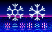 Christmas neon snowflake icon or element for 80s styled party or retro discount flyer