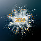 Abstract vector Christmas and New Year background with snow explosion, 2020 Numbers, snowflakes and golden rays. Blast of white powder