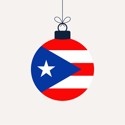 Christmas new year ball with puerto rico flag. Greeting card Vector illustration. Merry Christmas Ball with Flag isolated on white background