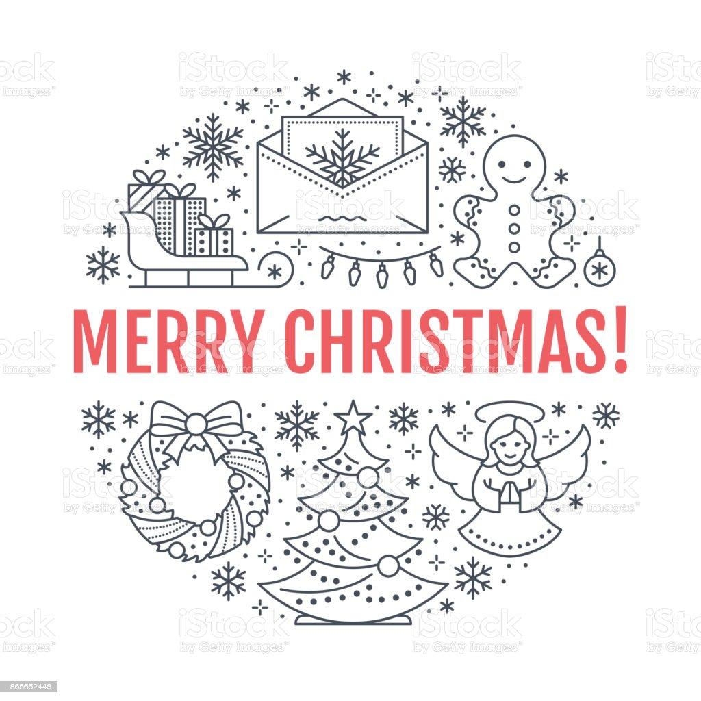 Weihnachten Neujahr Banner Abbildung Vektor Liniensymbol Winter