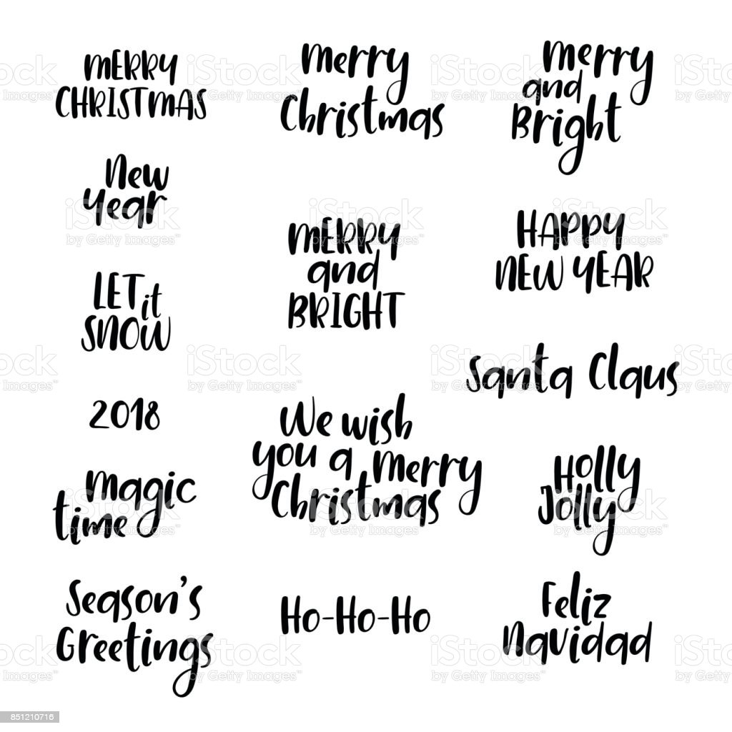 Christmas New Year Calligraphy Set Hand Lettering Phrases Greeting ...