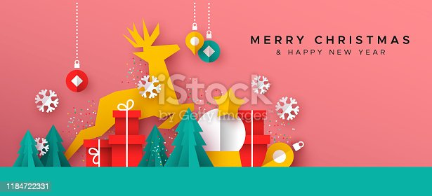 Merry Christmas Happy New Year greeting card illustration of papercut holiday decoration landscape. Festive paper craft includes gift box, reindeer, pine tree and winter snowflakes.
