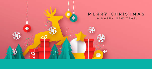 Christmas New Year card of paper cut toy landscape Merry Christmas Happy New Year greeting card illustration of papercut holiday decoration landscape. Festive paper craft includes gift box, reindeer, pine tree and winter snowflakes. non urban scene stock illustrations