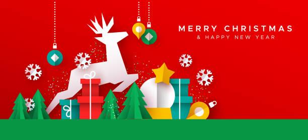 stockillustraties, clipart, cartoons en iconen met kerst nieuwjaar kaart van papier gesneden speelgoed landschap - christmas presents