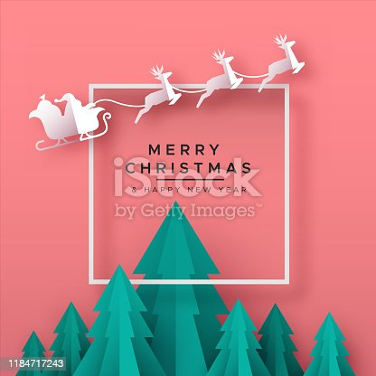 Merry Christmas Happy New Year greeting card illustration of papercut holiday forest landscape with pine trees and santa claus reindeer in sled.
