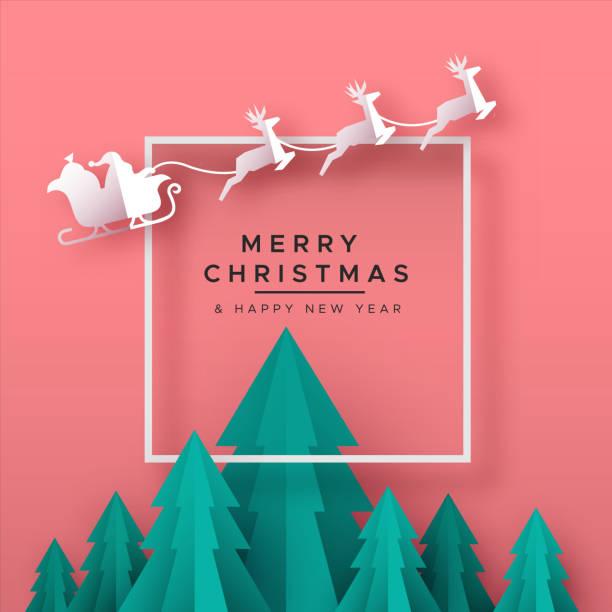illustrazioni stock, clip art, cartoni animati e icone di tendenza di christmas new year card of papercut holiday forest - natale concept