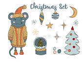 Christmas new year clip art set. Cute mouse in a sweater and hat, Christmas decorations, snow globe, decorated tree, moon and stars and more. Vector illustration.