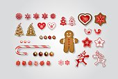 Christmas and New Year decorations. Set of scandinavian objects for festive design. Gingerbread, lollipop, snowflakes, reindeer, elk, Christmas tree, cookies, bird, gift boxes, heart, balls. Vector