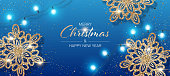 Christmas background with shiny snowflakes made of golden confetti and lights garlands. Design element for greeting card, party invitation or banner