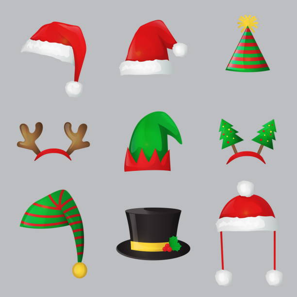 크리스마스 새 해 축제 축 하 모자 - 모자 모자류 stock illustrations