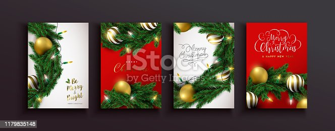 Merry Christmas Happy new year greeting card set of 3d gold holiday ornaments and xmas lights with realistic pine tree wreath on festive red background.