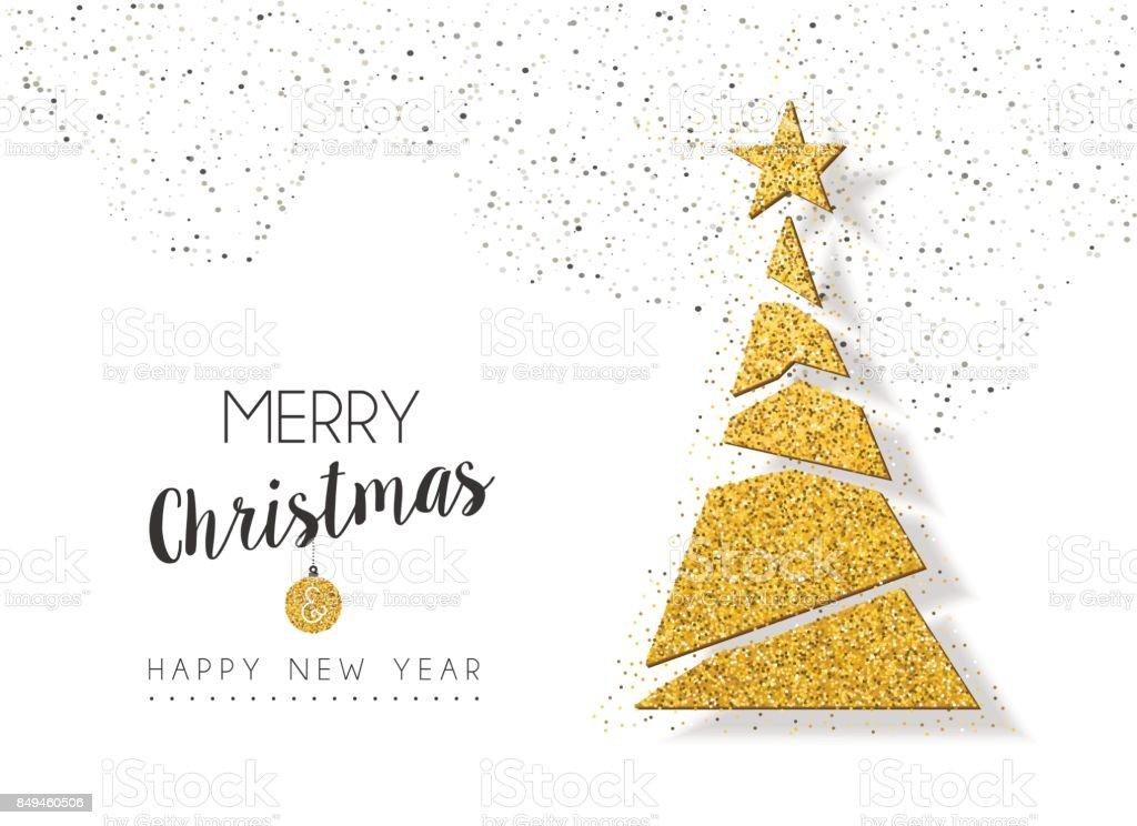 Weihnachten Silvester Goldglitter Urlaub Kiefer – Vektorgrafik