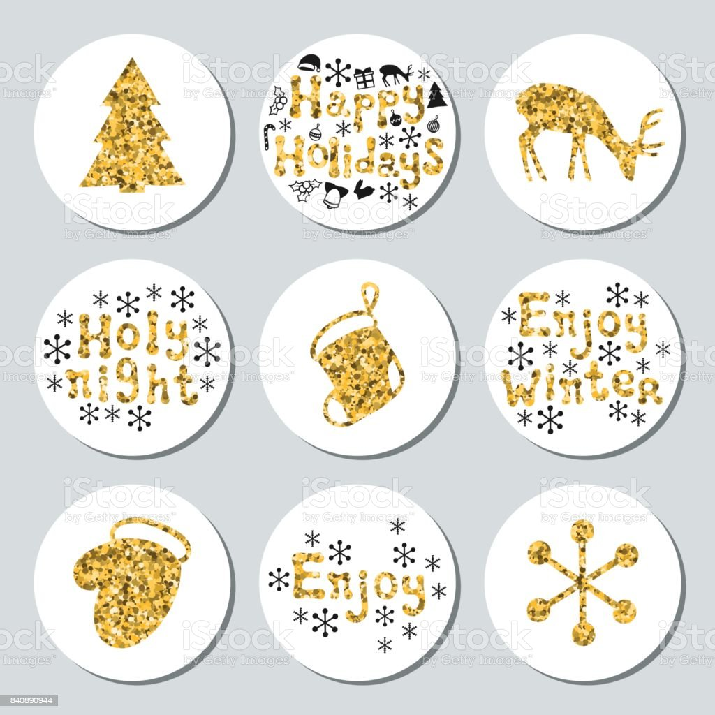 Christmas Stickers.Christmas New Year Golden Gift Round Stickers Labels Xmas Set Hand Drawn Glitter Decorative Element Collection Of Shiny Holiday Christmas Stickers