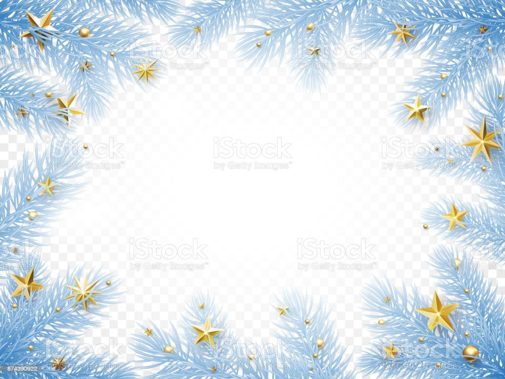 Christmas New Year Greeting Card Background Template Fir Tree Branch