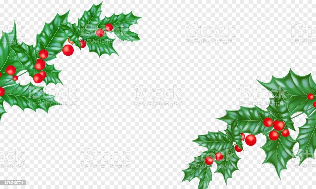 Noel Yılbaşı Tebrik Kartı Arka Plan şablonu Ağaç Dalı Holly çelenk