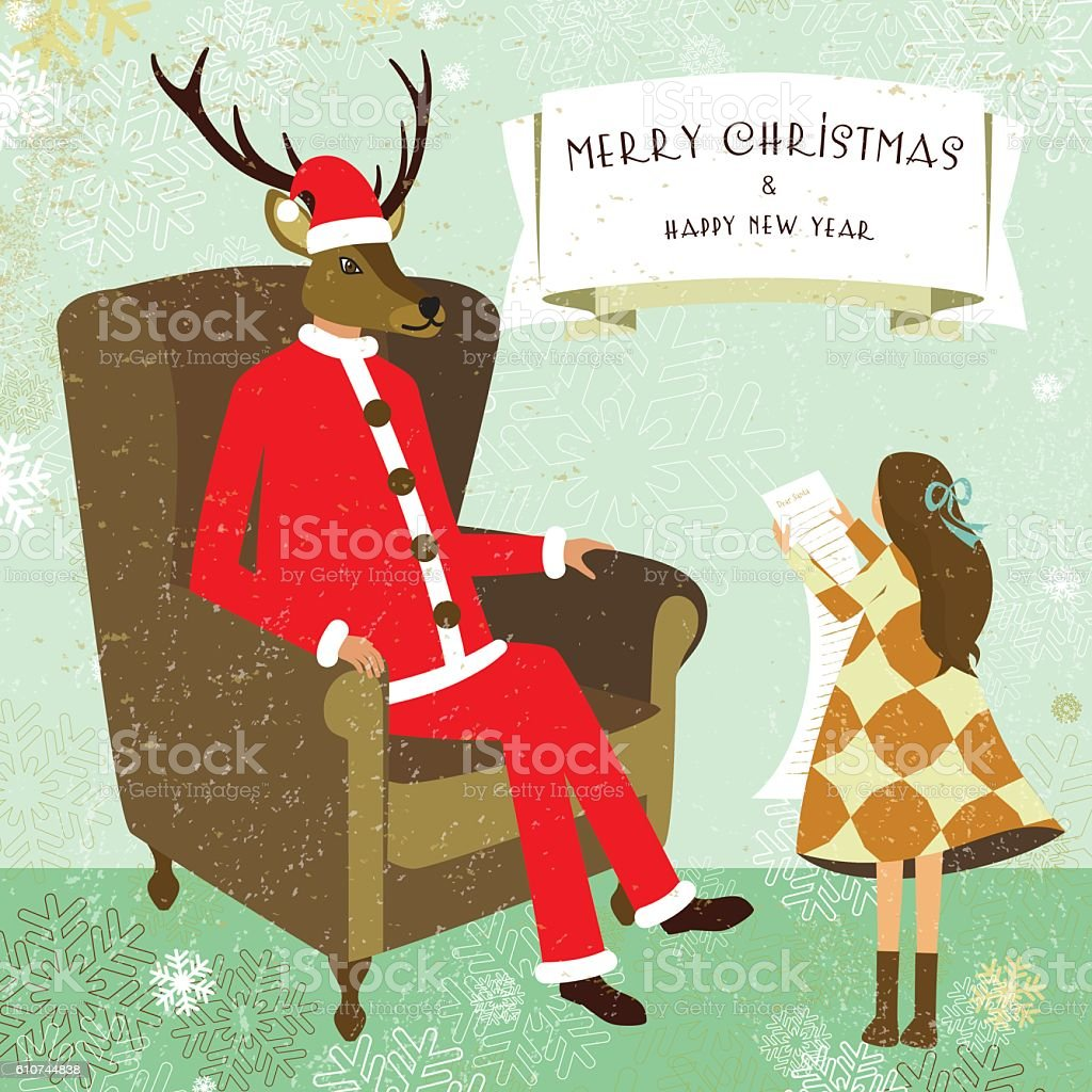 Christmas New Year Greeting Card Santa Deer Child Letter Banner