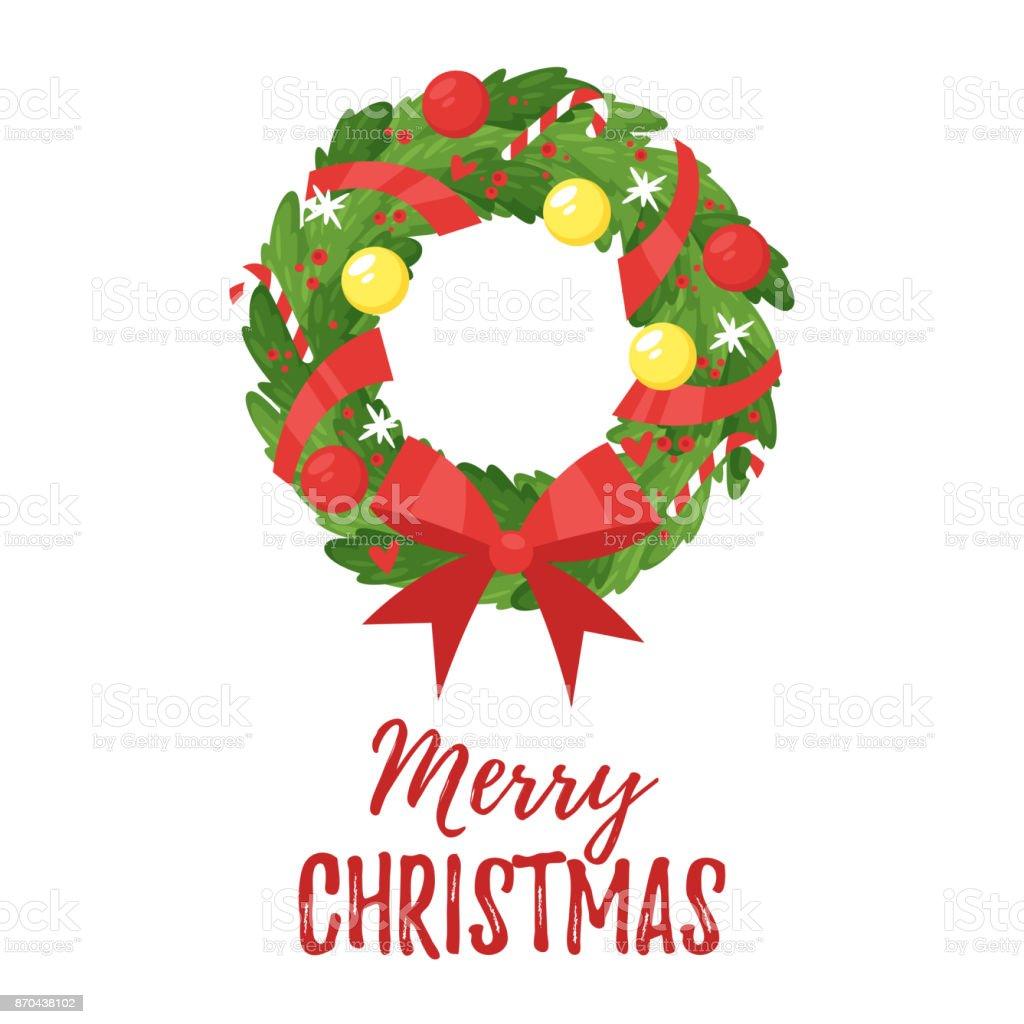 Weihnachten-Neujahr Grußkarte – Vektorgrafik