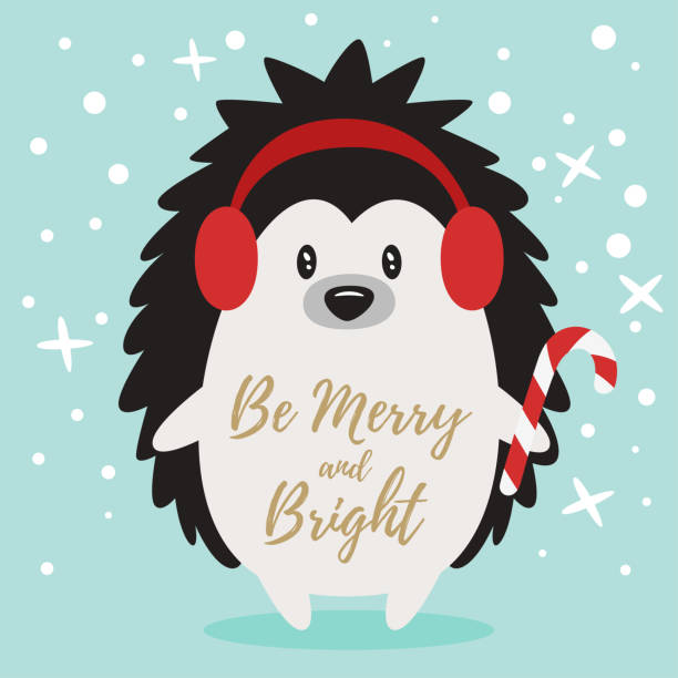 weihnachten-neujahr grußkarte - igel stock-grafiken, -clipart, -cartoons und -symbole