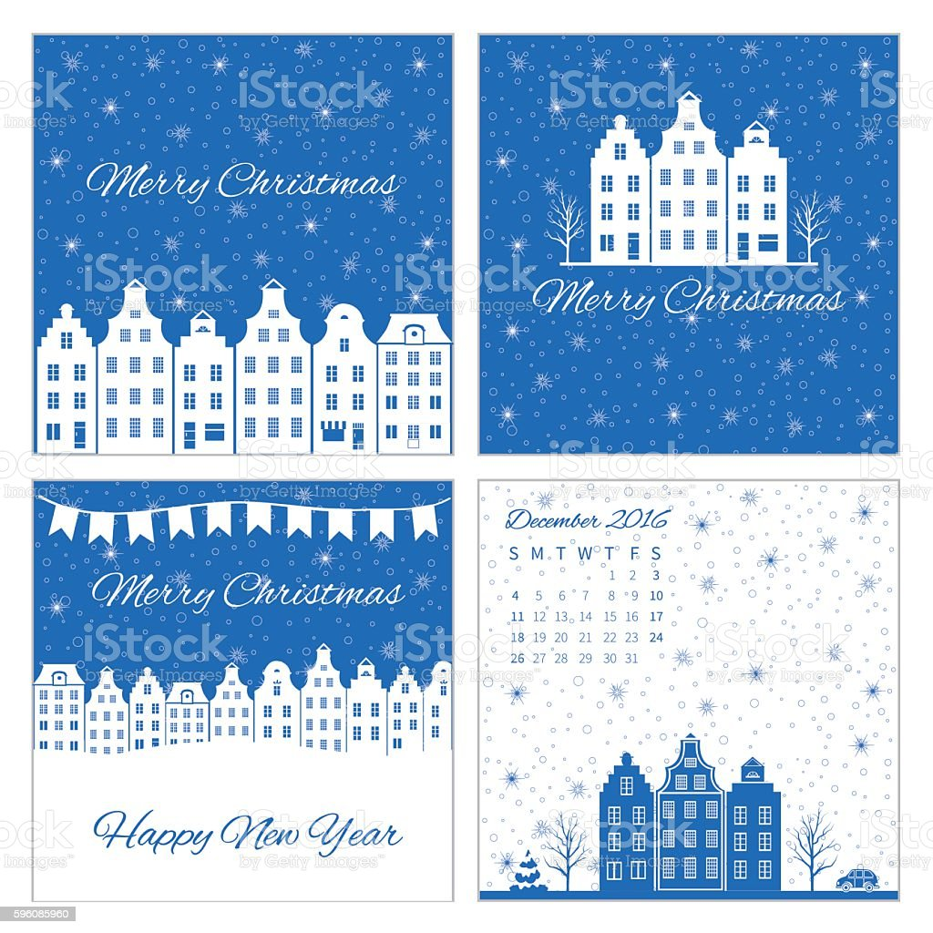 Christmas, New Year greeting card with european building, snowflakes, flags royalty-free christmas new year greeting card with european building snowflakes flags stock vector art & more images of architecture