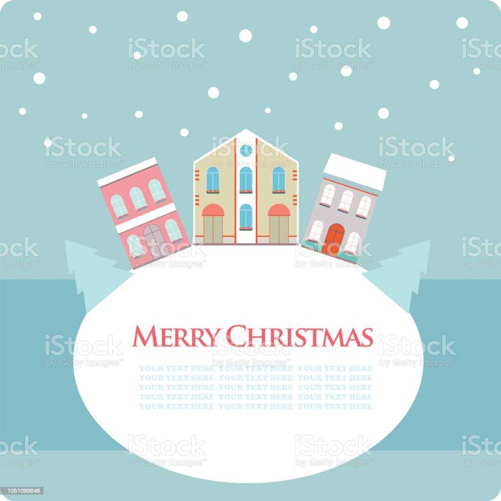 christmas new year greeting card with street view with lovely houses in small town royalty
