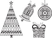 Christmas New Year hand-drawn decorative elements
