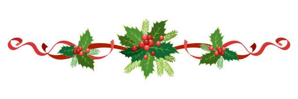 illustrations, cliparts, dessins animés et icônes de décoration de noel, de vacances de nouvel an. guirlande d'illustration de vecteur de houx avec des baies rouges, des rubans, des poinsettia, des branches de sapin-arbre. cadre, bordure pour les cartes de noel, bannières. - guirlande