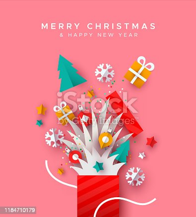 Merry Christmas and Happy New year papercut greeting card. Open holiday gift box with festive paper craft xmas decoration.