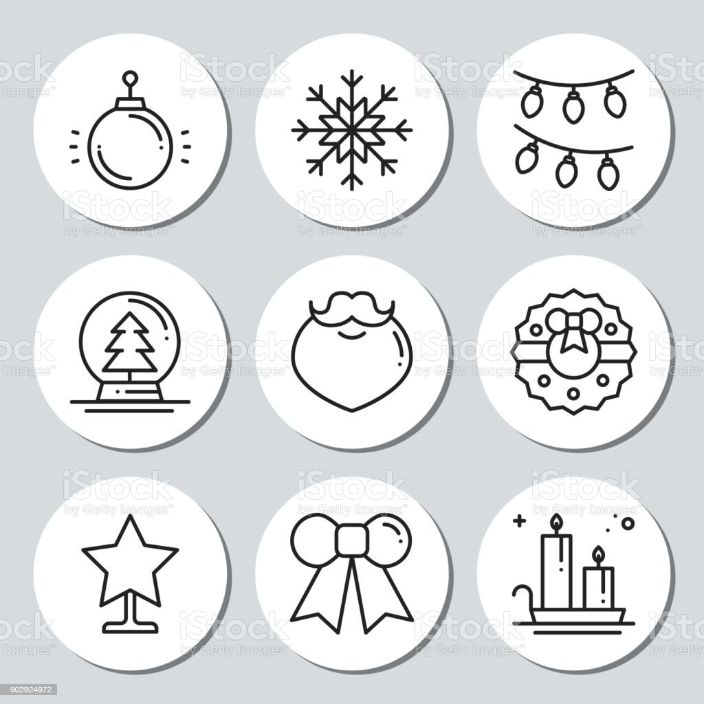 christmas new year icons gift round stickers labels xmas set hand drawn decorative element - Decorative Christmas Labels