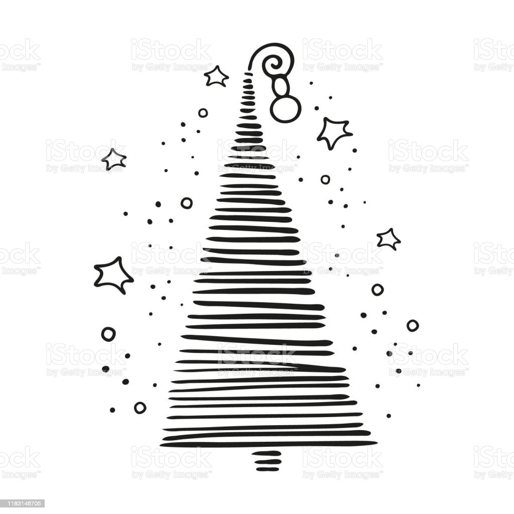 Christmas New Year Linear Concept With Simple Minimalist Xmas Tree In Doodle Style Isolated On White Background Winter Elements For Cards Coloring Book Stickers Hand Drawn Vector Illustration Stock Illustration Download