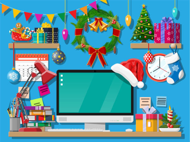 weihnachten silvester büroeinrichtung schreibtisch arbeitsbereich - firmenweihnachtsfeier stock-grafiken, -clipart, -cartoons und -symbole