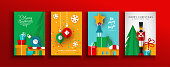 Merry Christmas Happy New Year greeting card set of colorful papercut xmas toys, holiday ornaments and paper cut city. Cute children toy illustration collection.