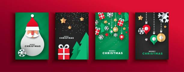 bildbanksillustrationer, clip art samt tecknat material och ikoner med christmas nyår papercut jultomten kort set - christmas card
