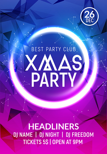 Christmas New year party poster banner template. Holiday celebration card design. Xmas flyer party template