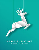 Merry Christmas and Happy New Year greeting card illustration of paper craft origami reindeer ornament for holiday season event or invitation.