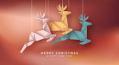 Merry Christmas and Happy New Year greeting card illustration of colorful paper craft origami reindeer for holiday season event or invitation.