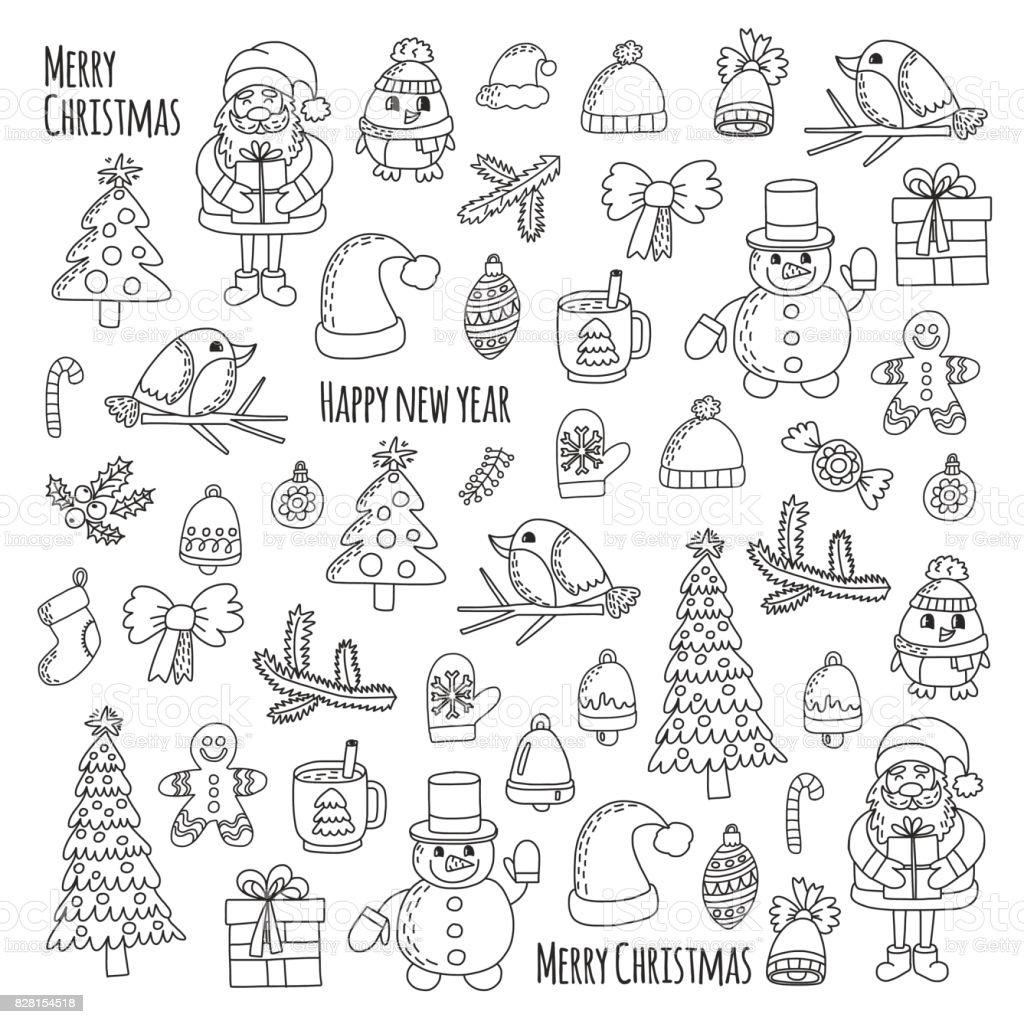 Ilustración de Árbol De Navidad Nuevo Año Santa Claus Doodle Vector ...