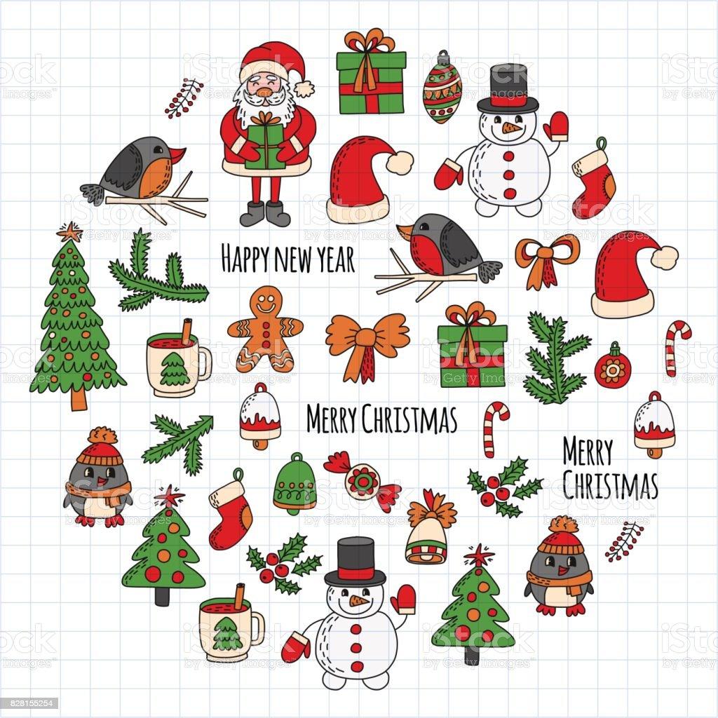 Christmas New Year Clip Art Bird - Clipart Vector Design •