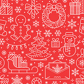 Christmas, new year seamless pattern, line illustration. Vector icons of winter holidays christmas tree, gifts, letter to santa, presents, snowman. Celebration party red white repeated background.