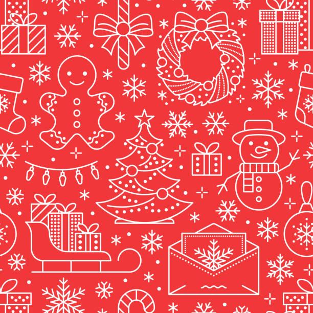 bildbanksillustrationer, clip art samt tecknat material och ikoner med jul, nyår sömlösa mönster, linje illustration. vektor ikoner av vintern semester julgran, gåvor, brev till santa, presenter, snögubbe. hyllning part röd vit upprepad bakgrund - pepparkaka