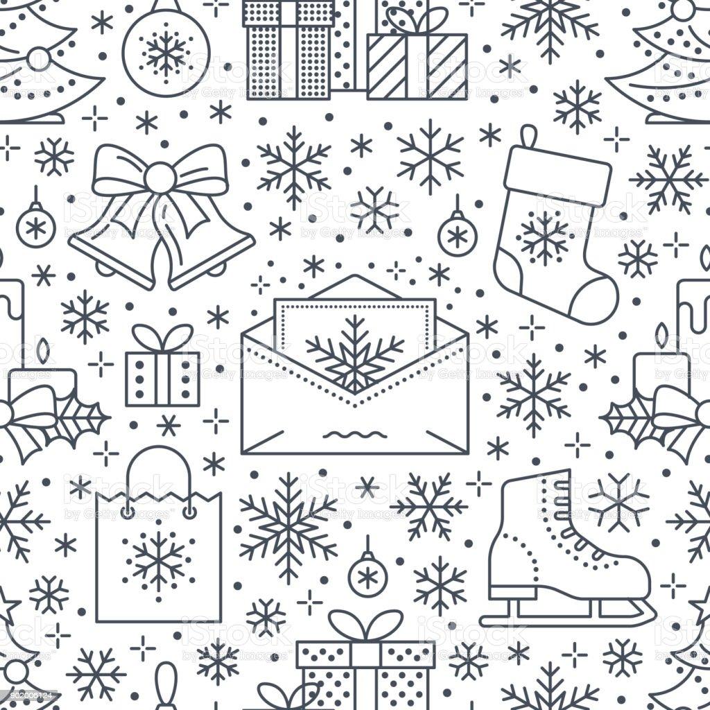 Weihnachten Neujahr Nahtloses Muster Linie Illustration Vektoricons