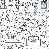 Christmas, new year seamless pattern, line illustration. Vector icons of winter holidays christmas tree, gifts, letter to santa, presents, snowman. Celebration party white black repeated background.