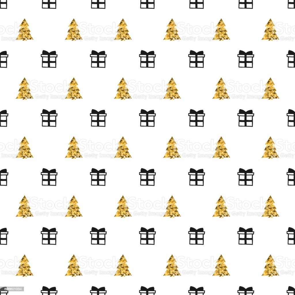 Christmas New Year Seamless Pattern With Gift Christmas Tree Holiday ...