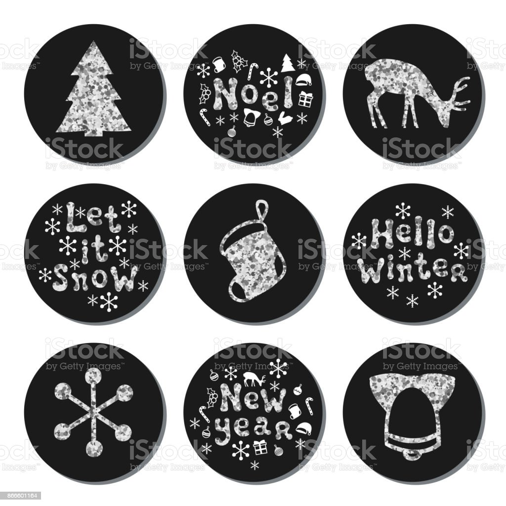 christmas new year silver gift round stickers labels xmas set hand