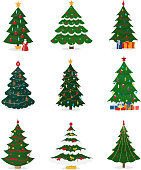 Christmas New Year tree vector icons with ornament star xmas gift design holiday celebration winter season party plant